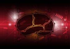 Communication numérique abstraite de cerveau Images stock