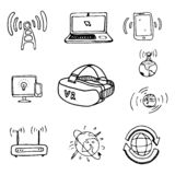 Communication objects or icons set/ cartoon vector and illustration, hand drawn style, black and white, isolated on white royalty free illustration