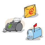Communication objects set. Hand drawn illustration. Vector is available Royalty Free Stock Image