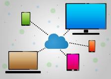 Communication par l'intermédiaire du nuage Photo libre de droits