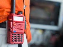 Communication par radio sur la taille Images stock