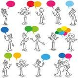Communication parlante de conversation de Stickman Image stock