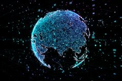 Communication of people in a social network without boundaries. Connection lines Around Earth Globe.The concept of. Social network. 3d illustration Royalty Free Stock Image