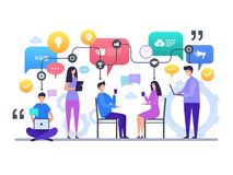 Communication people. Talking chatting global social network discussion vector characters concept scene vector illustration