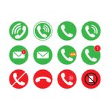 Communication of phone, call, email icon set. Vector illustration. stock illustration