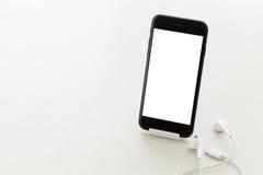 Communication phone mobile white screen on desk Stock Photos
