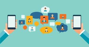 Communication plate d'affaires sur le concept mobile de causerie Images stock