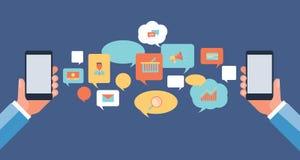 Communication plate d'affaires sur le concept mobile de causerie Image stock