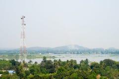 Communication Pole Stand among Nature Stock Image