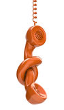 Communication problem. 3D concept with phone receiver and the knot Royalty Free Stock Images