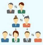 Communication process with avatars isolated on blue Royalty Free Stock Image