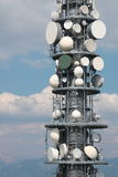 Communication repeater antenna tower detail Royalty Free Stock Photography
