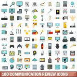 100 communication review icons set, flat style. 100 communication review icons set in flat style for any design vector illustration stock illustration