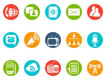 Communication round button icons set stock illustration
