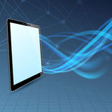 Communication run through tablet device Royalty Free Stock Image