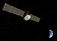ORBITING EARTH COMMUNICATION SATELLITE ELECTRONICS WIRELESS COMPUTERS. Communication navigation satellite looking down on earth. Orbit, orbiting, orbital Stock Photos