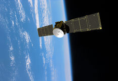 Orbiting Communication Satellite Navigation. Dramatic view of communication satellite beaming signals back to earth. Navigation, Orbiting