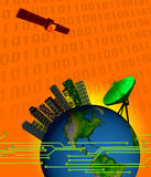 HIGH TECH SATELLITE COMMUNICATION INDUSTRY TECHNOLOGY DIGITAL WORLD CONCEPT Royalty Free Stock Image