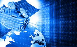 Communication satellite with digital world Stock Photos
