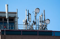 Communication satellite dishes and aerials Stock Photography