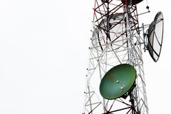 Communication satellite dishes tower Royalty Free Stock Images