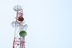Communication satellite dishes tower Stock Photos