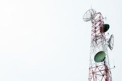 Communication satellite dishes tower Stock Photo