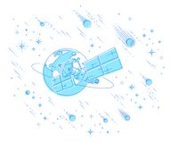 Communication satellite flying orbital spaceflight around earth, spacecraft space station with solar panels and satellite antenna. Plate, under meteor rain and royalty free illustration