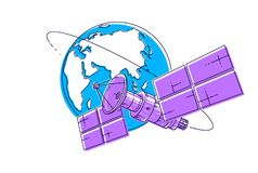 Communication satellite flying orbital spaceflight around earth, spacecraft space station with solar panels and satellite antenna. Plate. Thin line 3d vector royalty free illustration