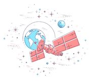 Communication satellite flying orbital spaceflight around earth, spacecraft space station with solar panels and satellite antenna. Plate, surrounded by stars stock illustration