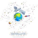 Communication satellite flying orbital spaceflight around earth, spacecraft space station with solar panels and satellite antenna. Plate, with rockets, stars stock illustration