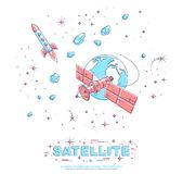 Communication satellite flying orbital spaceflight around earth, spacecraft space station with solar panels and satellite antenna. Plate, with rockets, stars vector illustration