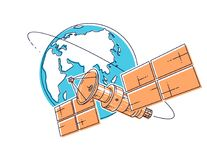 Communication satellite flying orbital spaceflight around earth, spacecraft space station with solar panels and satellite antenna. Plate. Thin line 3d vector stock illustration
