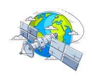 Communication satellite flying orbital spaceflight around earth, spacecraft space station with solar panels and satellite antenna. Plate. Thin line 3d vector vector illustration