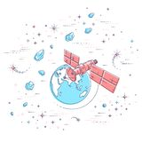 Communication satellite flying orbital spaceflight around earth, spacecraft space station with solar panels and satellite antenna. Plate, under asteroid rain royalty free illustration