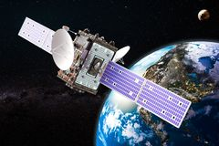Communication satellite orbiting earth, 3D rendering. Communication satellite orbiting earth, 3D Royalty Free Stock Images