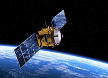 Communication Satellite Orbiting Earth. Realistic 3D Scene Royalty Free Stock Photo