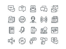 Communication. Set of outline vector icons. Includes such as Phone Calls, Video Chat, On-line Support and other. Editable Stroke. 48x48 Pixel Perfect Royalty Free Stock Image