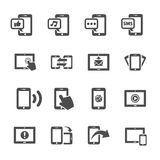 Communication of smart phone and tablet device icon set, vector Stock Photo