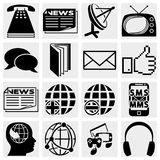 Communication and social media icons. Communication and social icons set isolated on grey background.EPS file available Stock Image