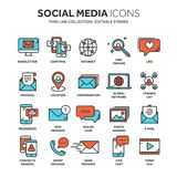 Communication. Social media. Online chatting. Phone call, app messenger. Mobile,smartphone. Computing.Email. Thin line. Blue web icon set Outline icons Stock Photography