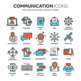 Communication. Social media. Online chatting. Phone call, app messenger. Mobile,smartphone. Computing.Email. Thin line. Blue web icon set Outline icons Royalty Free Stock Images