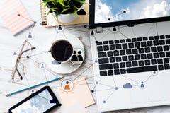 Communication sociale et concept global de mise en réseau photo stock
