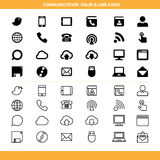 Communication solid and line icons set Stock Images