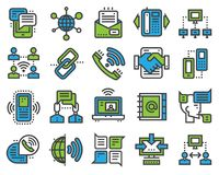 Communication sotial thin outline icons media internet web network communicate vector illustration. Connection of group business people Royalty Free Stock Image