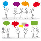Communication speech bubbles. Stick figures with colorful dialog speech bubbles Royalty Free Stock Photo