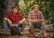 Free Communication. Spend Picnic Weekend In Nature. Adventure Concept. Hike And People. Two Men Relax At Fire. Hiking And Royalty Free Stock Photo - 199258445