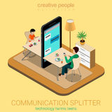 Communication splitter social parenting flat 3d vector isometric Royalty Free Stock Photos