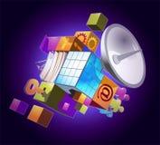 Communication symbol. Symbol of communication technologies on violet background stock illustration