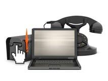 Communication symbols - computer, phone and mailbox Stock Image